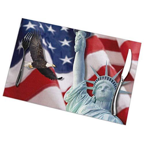 Vinkde Bald Eagle Statue of Liberty - Juego de 6 manteles Individuales, manteles Individuales duraderos para Mesa de Cocina, Lavable, resisten