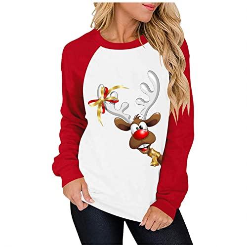 Bluse Damen Casual Shirts Lose O-Ausschnitt Oberteile Tunika Langarmshirts Business Tops Basic Weihnachten Drucken Hemd Sweatshirt Langarm Hoodie Sport Fitness Sweatwear Slim Fit Bluse Oberteile