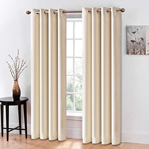 """Erigeron Blackout Curtains - Thermal Insulated Panels, Solid Grommets Room Darkening Draperies for Bedroom & Living Room, Set of 2 Panels (Beige,52""""x95"""")"""
