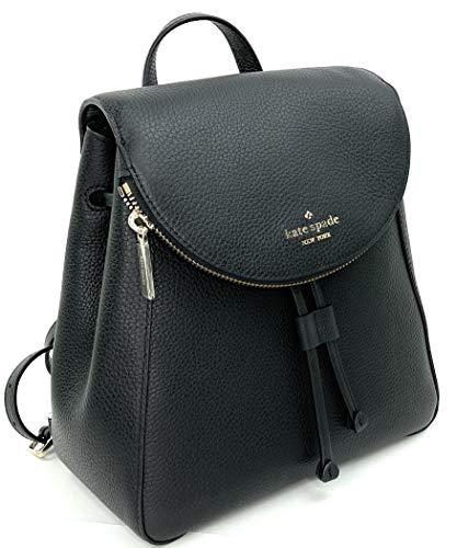 Kate Spade Leila Medium Flap Pebbled Leather Backpack (Black)