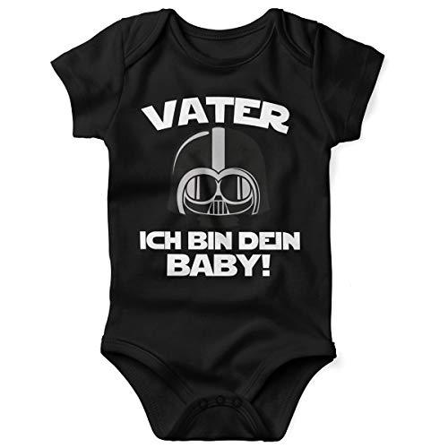 Mikalino Babybody mit Spruch für Jungen Mädchen Unisex Kurzarm Vater - ich Bin Dein Baby! | handbedruckt in Deutschland | Handmade with Love, Farbe:schwarz, Grösse:56