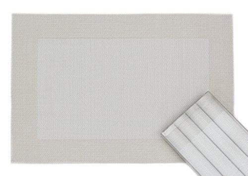 makami Elegante Platzsets im 4er-Set aus gewebtem Kunststoff - abwaschbare Tischsets/Platzmatten 45 x 30 cm (Weiss-Silber/Perlmutt)