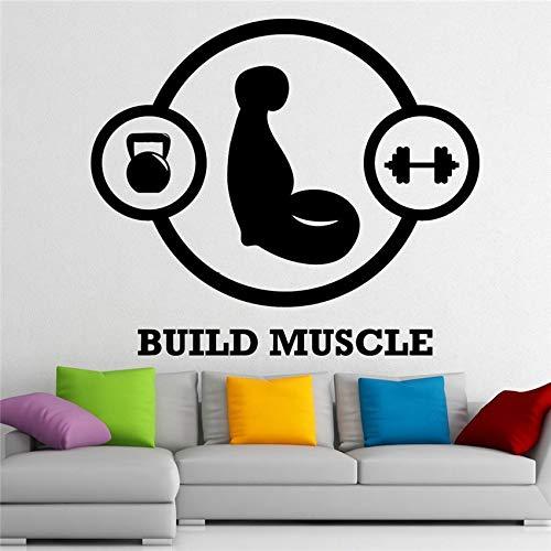 58 x 67 cm Muskelaufbau Fitness Club Wandtattoo Vinyl Gym Sport Aufkleber Wanddekor Abnehmbare wasserdichte Aufkleber Wandaufkleber