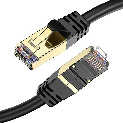 Powerextra CAT 8 Ethernet Kabel, 15Fuß (4.5m) Hochleistungs Hochgeschwindigkeits 26AWG Cat8 LAN Netzwerkkabel 40 Gbit/s, 2000 MHz mit vergoldetem RJ45-Anschluss für Router, Modem, Spiele