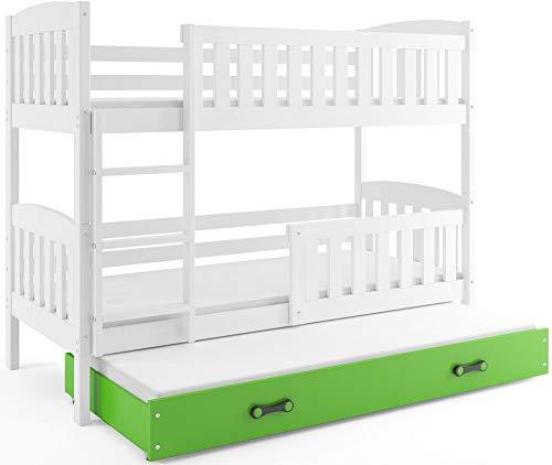Interbeds Litera triple JACOB 190 x 90 blanco + variaciones, base de listones, sin colchones (verde)