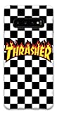Featuring Thrasher Compatible with Samsung Galaxy S10 Soft Decorative Phone Case 【Express Shipping】 Cover Cool Trendy Skateboard Accessories (A) Black and White