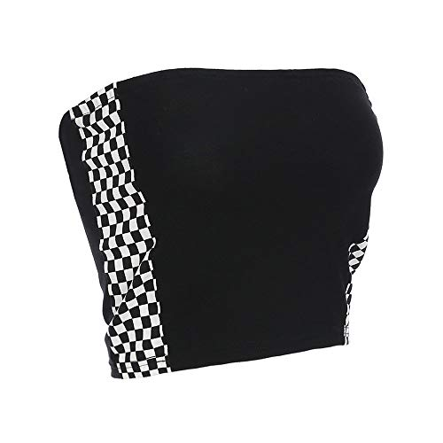 Women Sexy Checkerboard Print Strap Backless Plaid Camis Streetwear Crop Tops (Black, Large)