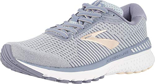 Brooks Womens Adrenaline GTS 20 Running Shoe - Grey/Pale Peach/White - 2E - 7.5