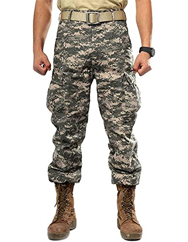 Idopy Pantalones militares tácticos casuales de camuflaje multi-bolsillo BDU Cargo Pantalones, Camuflaje, XL