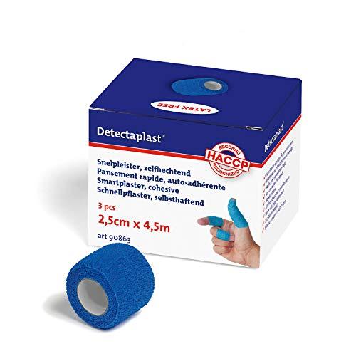 Detectaplast Smart-Pflaster wasserfest, selbstklebender Verband für Wunden und Zerrungen, sterile Pflaster Rolle für den Umgang mit Lebensmitteln, 2,5 cm x 4,5 m, 3Stk
