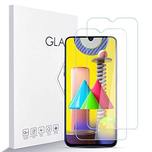 Protector de Pantalla Para Samsung Galaxy M31 Dual SIM Dureza 9H A Prueba de Rayones Protector de Pantalla de Vidrio Templado [2 piezas] Borde Redondeado 2.5D, Fácil de Instalar,Soporte de Prensa 3D