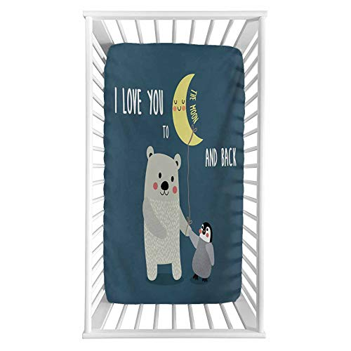 """I Love You Fitted Crib Sheet,Teddy Bear and Penguin Best Friends Arctic Lovers Under Moon Cartoon Microfiber Silky Soft Toddler Mattress Sheet Fitted,28""""x 52""""x 8'',Baby Sheet for Boys Girls"""