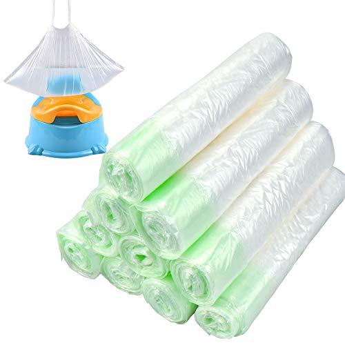 Homgaty - Bolsas para orinal de viaje, 100 unidades, desechables con cordón, bolsas de viaje para niños, bolsas de inodoro de entrenamiento universales, para niños, 44 x 24 cm (10 rollos)