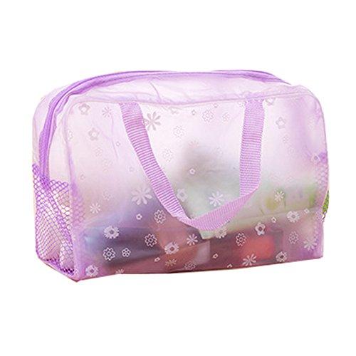 AIUIN - Neceser de aseo sencillo con diseño floral, transparente, impermeable al agua, cosméticos, bolsa de viaje, bolsa de aseo para el baño, organizador de 1 unidad morado morado 23*13*9cm