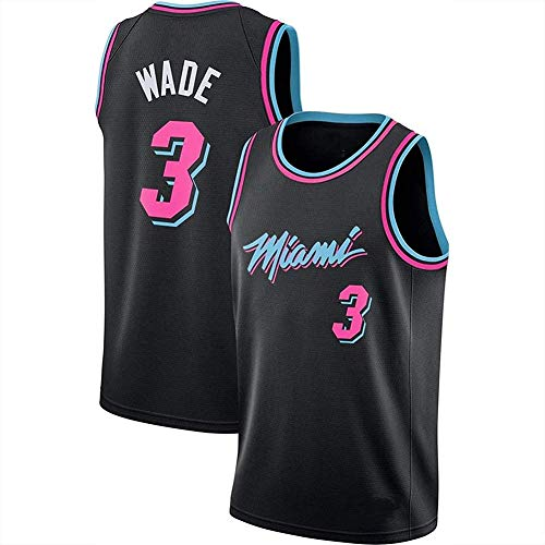 Camiseta De Baloncesto NBA Miami Heat para Hombre, Camiseta N. ° 3 Dwyane Wade Swingman,Negro,XL