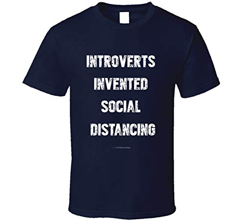 COLD SPRINGS DESIGNS Introverts Invented Social Distancing Funny Covid19 Coronavirus Quarantine Gift Hermit T Shirt 3XL Navy