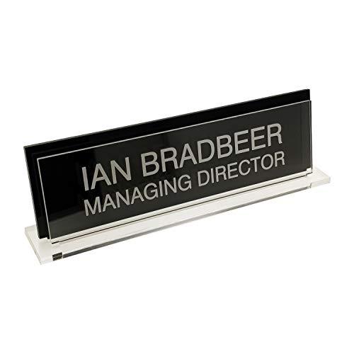 Badgemaster Premium Custom Personalised Office Home Desk Name Plaque Acrylic Black
