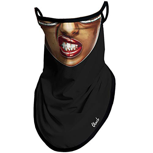 Obacle Bandana Face Mask with Ear Loops Neck Gaiter Face Mask Scarf Face Cover for Men Women (Women Light Brown Face with Tilt Lips)