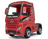 Media Wave Store - Truck Camion Elettrico LT911 per Bambini Mercedes ACTROS 12V Porte APRIBILI (Rosso)