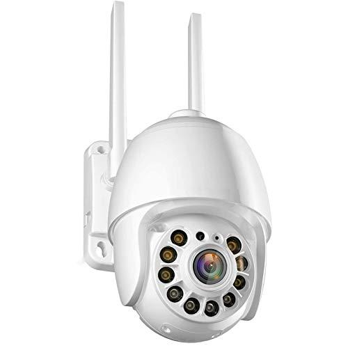 HDHUIXS Cámara de seguridad para exteriores, WiFi inalámbrico, cámara IP, detección de movimiento, seguimiento automático, conversación de dos vías de 2.4GHz, HD 1080p Color a todo color Visión noctur