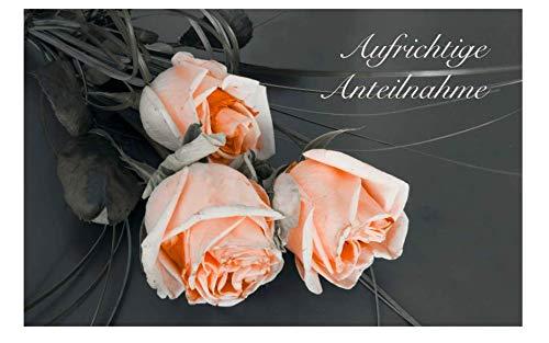 3 Stück einfühlsame Premium-Trauerkarten/Beileidskarten im Set mit 3 Umschläge - Anteilnahme Trauerkarte, Beileid stille Trauer Kondolenzkarte Gedenkkarte
