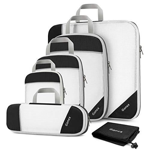 Gonex Compression Packing Cubes Mesh Organizers L+M+S+XS+Slim+Laundry Bag Black