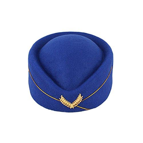 PRETYZOOM Chapeau d'htesse de l'air en laine pour femme - Chapeau d'hôtesse de vol pour costume cosplay, performance musicale - Taille M (bleu roi) pour fête