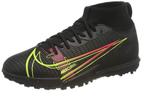 Nike JR Superfly 8 Academy TF, Zapatillas de ftbol, Black Cyber Off Noir Rage Green Siren Red, 33.5 EU