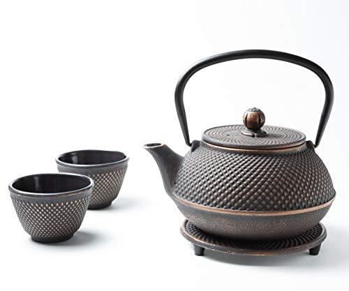 Tealøv TEEKANNE GUSSEISEN 800 ml - KOMPLETTES Set Gusseisen Teekanne mit Sieb, Teetassen und Untersetzer Teeservice im Japanischen Stil –Arare Kupfer