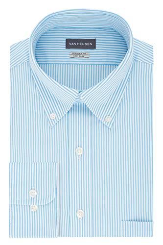 Van Heusen mens Regular Fit Pinpoint Stripe Dress Shirt, Periwinkle, 15.5 Neck 32 -33 Sleeve Medium US