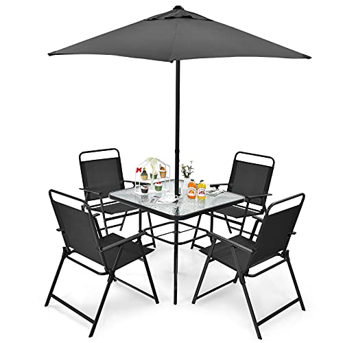 COSTWAY 6 Piece Patio Bistro Set, Garden Furniture Set with 4 Folding Chairs, Glass Table and Parasol Umbrella, Outdoor Dining Set for Balcony Deck Poolside