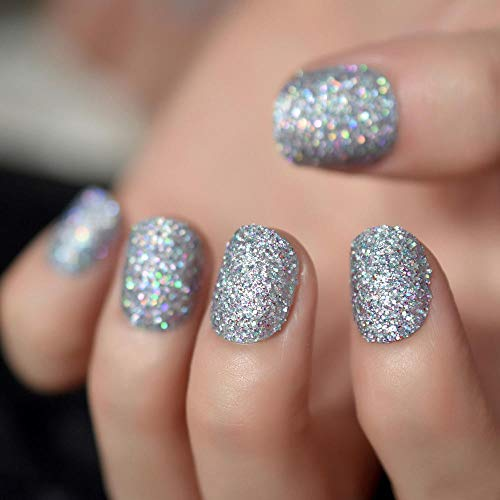 TJJF Silver Glitter Press On Nail Short Round Design Artificial False Nails Easy Diy Full Nail Tips Shiny Manicure Accessories