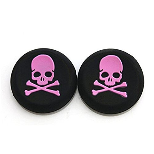 Silikon-Thumbstick-Abdeckung für PS4, Xbox One, PS3, Xbox 360, PS2 Game-Controller Pink Totenkopf