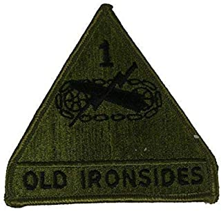 Embroidered Patch - Patches for Women Man - US Army 1ST First Armored Division AD Old Ironsides Veteran OD Green