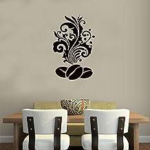 Muurstickers Koffieboon Met Bloemenpatroon Voor Keuken Cafe Winkel Home Interieur Ontwerp Art Muursticker Poster Decoratie...