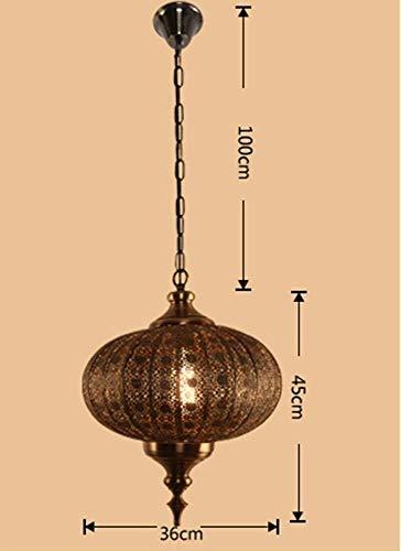 WHKHY Pendentif rétro Asie du Sud-Est Manuel Lampes métalliques de Lanterne Pendentif Antique Lumières Cuivre Creative Lampes et lanternes Fixes,Diamètre 36cm