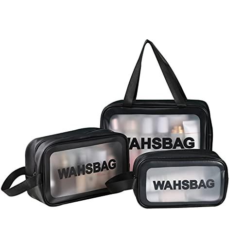 LOXBEE - Bolsa de cosméticos de tres piezas, transparente de gran capacidad, bolsa de almacenamiento portátil esmerilado translúcido para niñas y mujeres