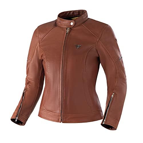 SHIMA MONACO Giacca Moto Donna - Giubbotto Moto Donna Vintage in Pelle A+, Ventilato con Protezioni CE per Schiena, Spalle e Gomiti, Doppie Cuciture Rinforzate (Marrone, L)