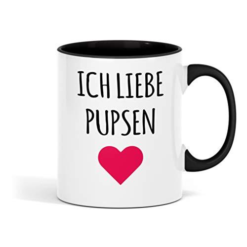 Outfitfaktur Ich Liebe Pupsen Bedruckte Tasse - lustige Kaffeetasse mit Sprüchen - die perfekte Geschenkidee für Familie, Freunde & Kollegen - große Kaffee- und Teetasse fürs Büro - Tea Cup