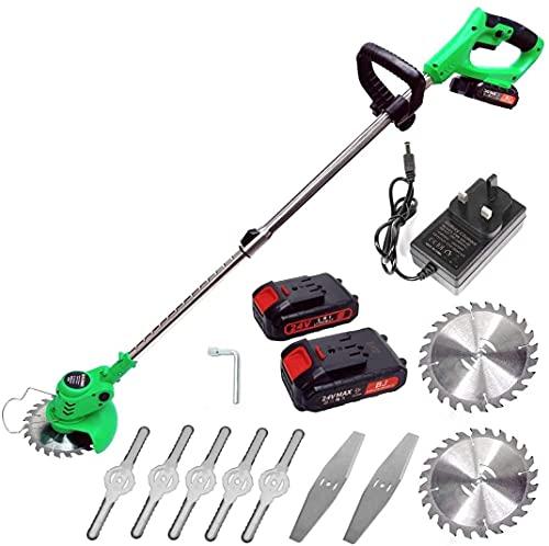 TOPQSC - Cortador de hierba inalámbrico 21 V, ajuste de ángulo de trabajo a 180°, interruptor de doble control, equipado con 5 cuchillas de plástico, mango telescópico 90-120 cm