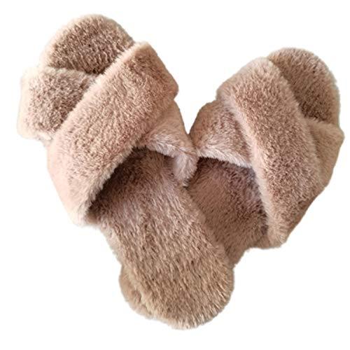 GBZLFH Zapatillas de Banda Cruzada para Mujer, Zapatillas de Felpa Piel sintética mullida, Sandalias casa con Punta Abierta acogedoras, Diapositivas Planas peludas Espuma viscoelástica,Camel,41