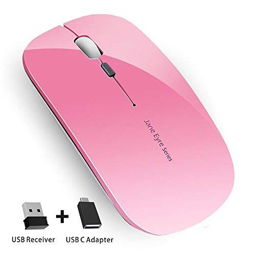 Coener Ratón Inalámbrico Recargable, Mouse Wireless 2.4G Mute de Mouse Inalambrico, Ultra Delgado,1600 dpi Ajustable para Portatil/Computadora/Windows/Linux/Vista/PC/Mac (Rosa)