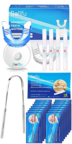 Belifu Teeth Whitening Kit with LED Light, Teeth Whiten Gel Pen and Strips, Non-Sensitive Tooth Whitener, Professional Teeth Whitener for Home Using, Sensitivity Free, Remove Coffee Tea Tobacco Stains