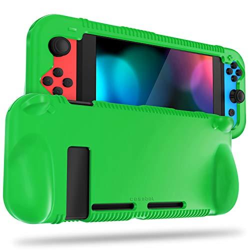 FINTIE Silikon-Schutzhülle kompatibel mit Nintendo Switch – Weiche [Anti-Rutsch] [Stoßfest] Schutzhülle mit ergonomischem Griff Design, Fallschutz Grip Case (Grün)