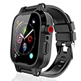 SHELLBOX Compatible for Apple watch Series 6 /SE/Series 5/Series 4 waterproof case 44mm, iWatch Protective case with silicone band and Built-in Screen Protector, Soft Bands for Apple iWatch 44mm (Black)