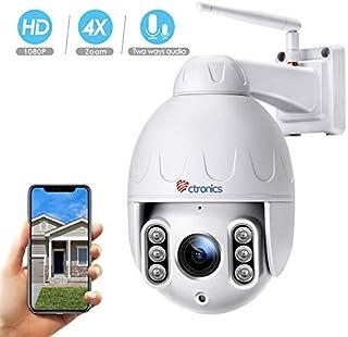 Ctronics Cámara de Seguridad WiFi Exterior - Cámara IP PTZ para Vigilancia del Hogar 1080P Zoom Óptico 4X Audio Bidereccional Detección de Movimiento Visión Nocturna a 50 m Impermeable IP65