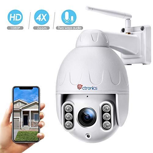 PTZ IP Dome camera voor buiten, Ctronics bewakingscamera, WLAN outdoor, 10-voudige optische zoomlens, tweewegs-audio 50 m IR-nachtzicht, IP65 waterdicht, bewegingsmelder, ondersteuning van 64 GB SD-kaarten, PTZ wit