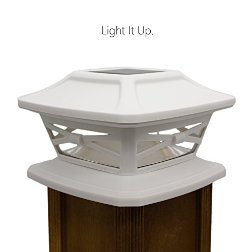 Davinci Flexfit Solar Post Cap Lights - Outdoor Lighting for 4x4 5x5 and 6x6 Wooden Posts - Bright Warm White LEDs - Pearl White (2 Pack)