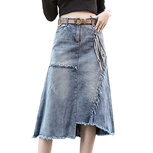 MAOSUO Saia feminina de cintura alta, bainha irregular desgastada, botão evasê, saia jeans longa atraente para uso diário