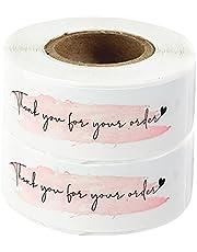 healthwen Bedankt Sticker 120 etiketten per rol Cadeaupapier Decoratiepapier Zelfklevend etiket Rechthoekige stickers wit + roze F106 2 rollen 7,5 * 2,5 cm